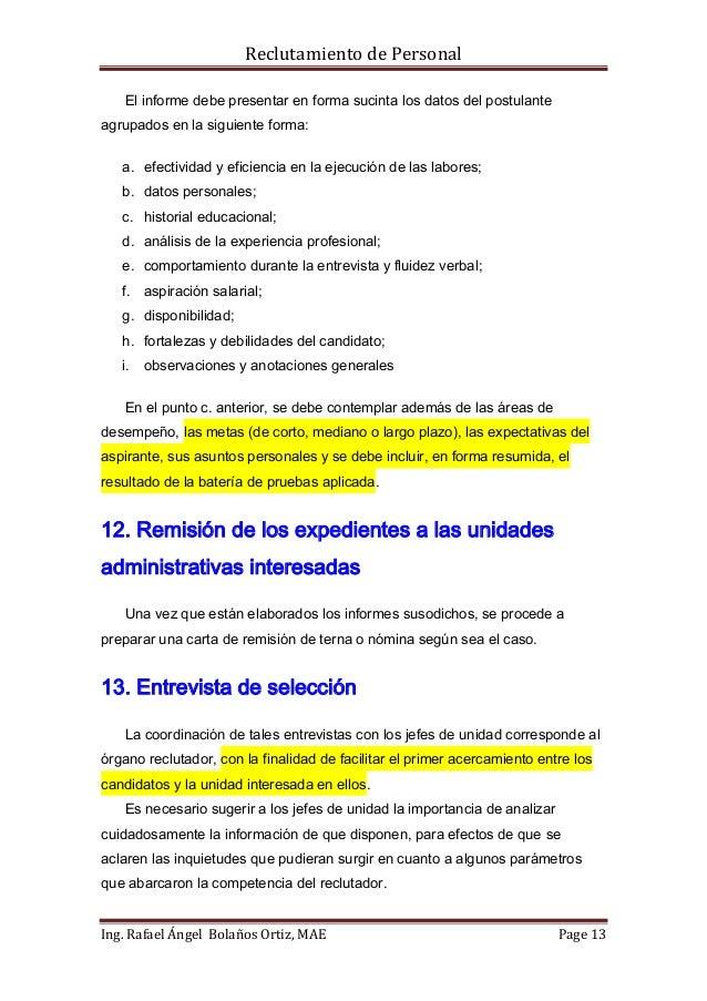 Manual para el reclutamiento y selección de personal.