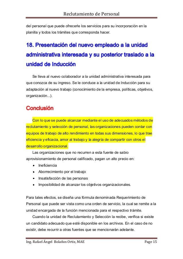 Reclutamiento de Personaldel personal que puede ofrecerle los servicios para su incorporación en laplanilla y todos los tr...