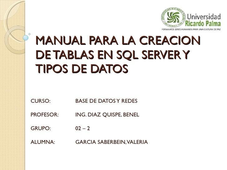 MANUAL PARA LA CREACION DE TABLAS EN SQL SERVER Y TIPOS DE DATOS CURSO: BASE DE DATOS Y REDES PROFESOR: ING. DIAZ QUISPE, ...