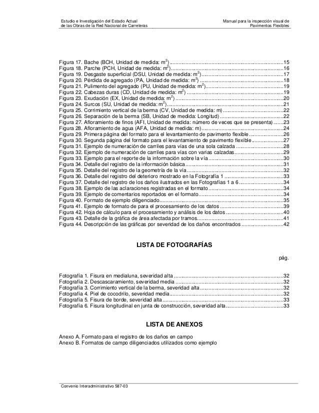Manual para la inspección visual de pavimentos flexibles