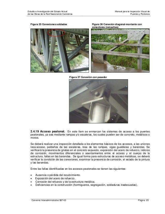 Manual para la inspección visual de puentes y pontones