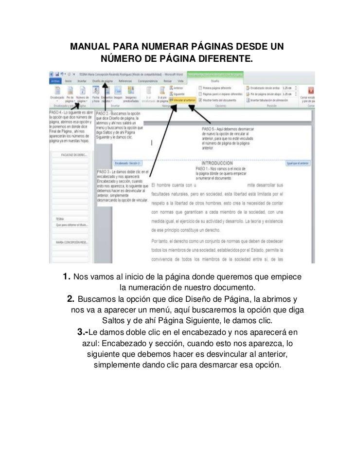 MANUAL PARA NUMERAR PÁGINAS DESDE UN NÚMERO DE PÁGINA DIFERENTE.1.