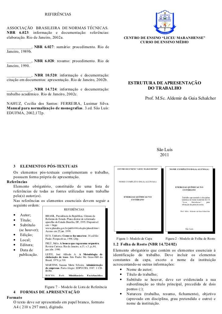 REFERÊNCIASASSOCIAÇÃO BRASILEIRA DE NORMAS TÉCNICAS.NBR 6.023: informação e documentação: referências:elaboração. Rio de J...