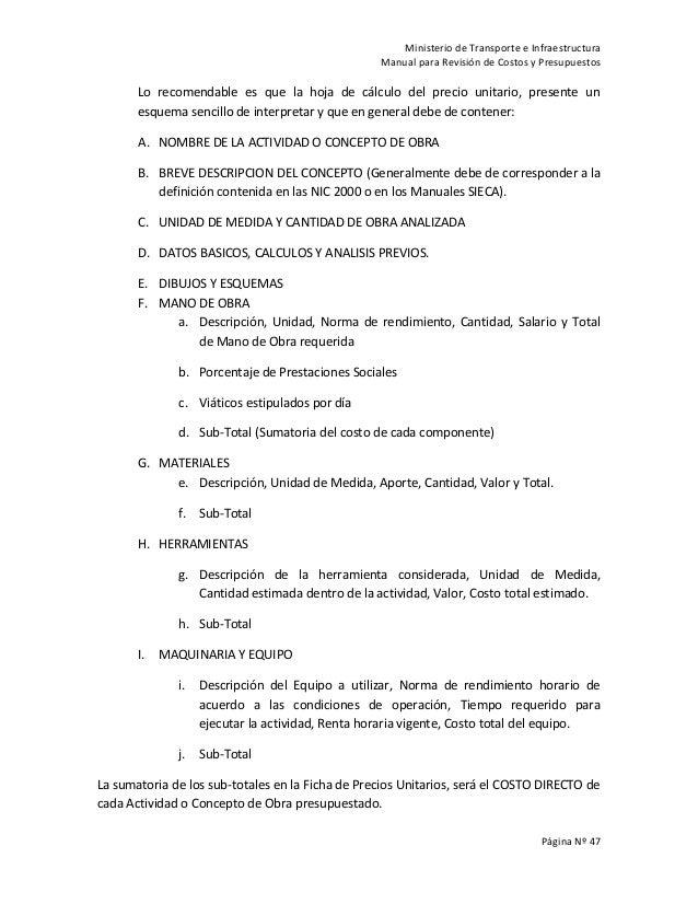 Manual para revisi n de costos y presupuestos de obras viales - Presupuestos de obras ...