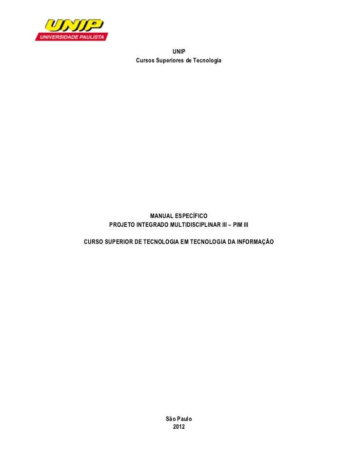 UNIP                Cursos Superiores de Tecnologia                   MANUAL ESPECÍFICO     ...
