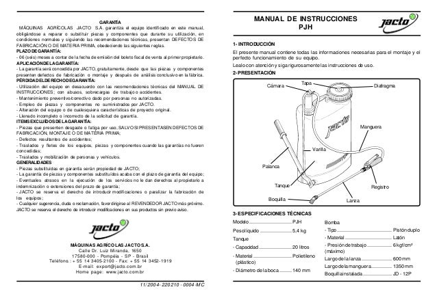 GARANTÍA MÁQUINAS AGRÍCOLAS JACTO S.A. garantiza el equipo identificado en este manual, obligándose a reparar o substituir...