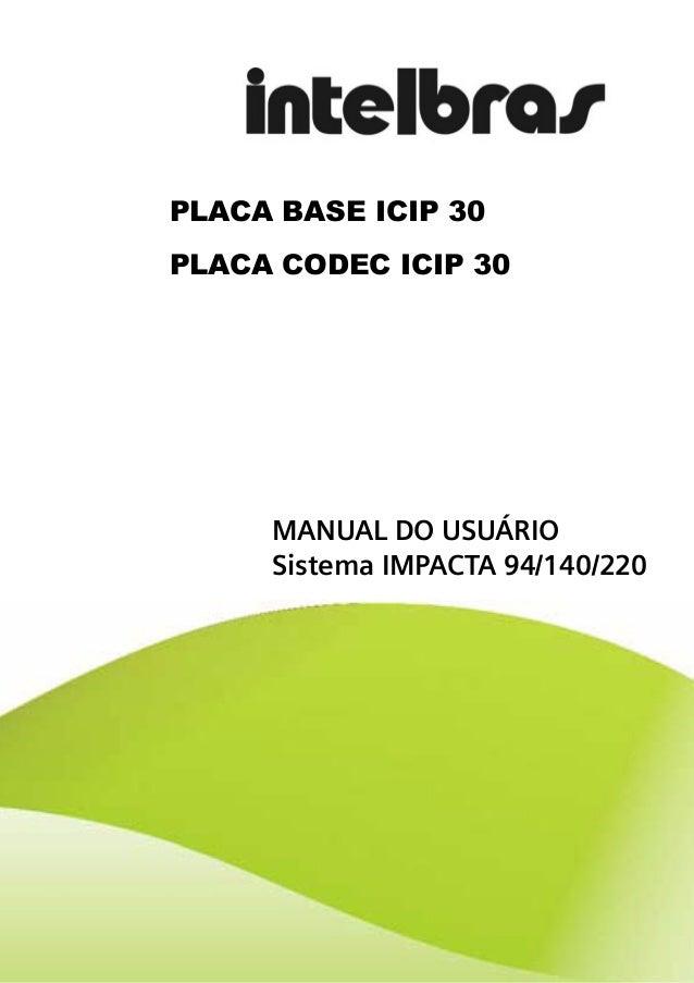 PLACA BASE ICIP 30PLACA CODEC ICIP 30     MANUAL DO USUÁRIO     Sistema IMPACTA 94/140/220