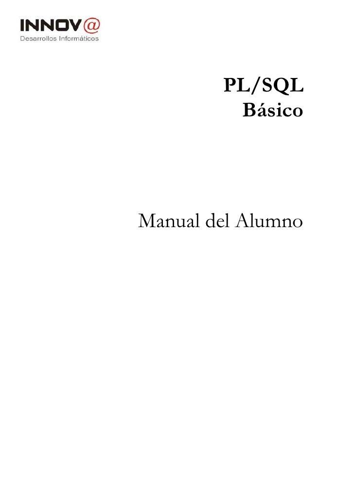 PL/SQL         BásicoManual del Alumno
