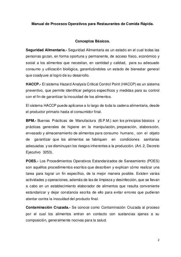 Manual poes for Manual de procedimientos de cocina en un restaurante
