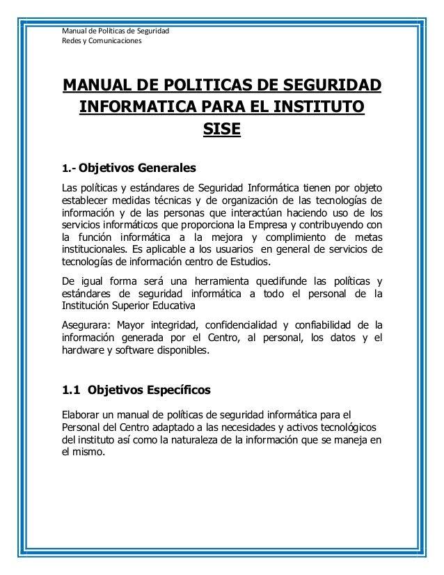 Manual politicas de seguridad for Manual de operaciones de un restaurante ejemplo