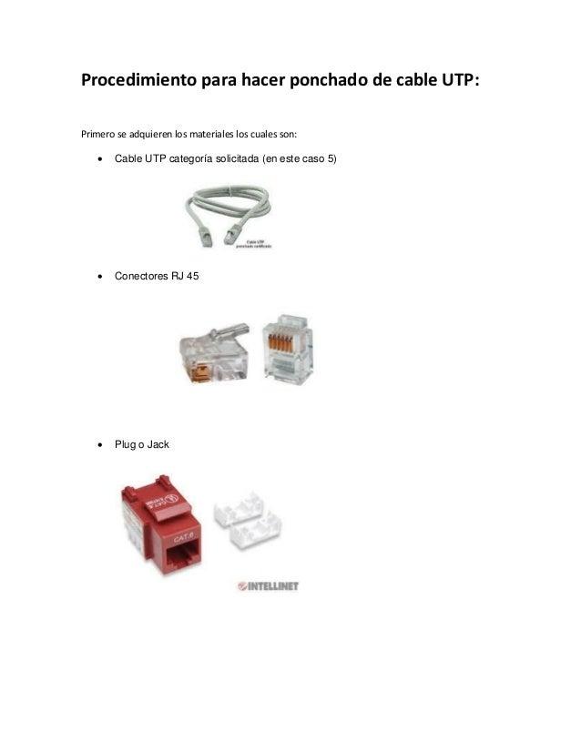 Procedimiento para hacer ponchado de cable UTP: Primero se adquieren los materiales los cuales son:  Cable UTP categoría ...