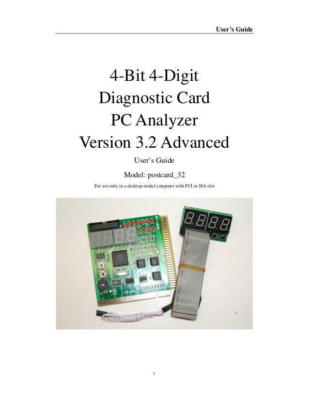 Pc post diagnostic test card motherboard analyzer for pci/isa.