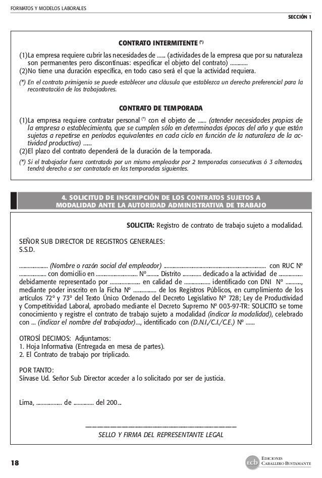 Modelo Adenda Contrato Laboral Manual Practico Contratos