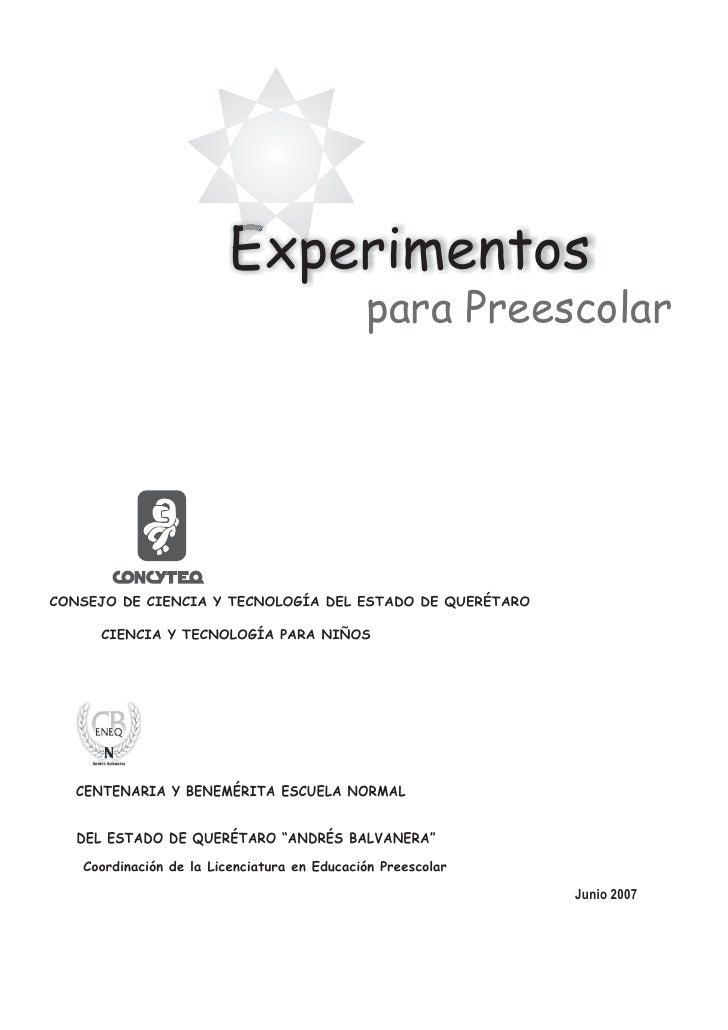 Manual de experimentos para la educación inicial