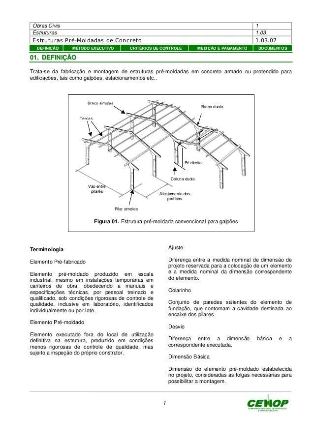 Obras Civis 1 Estruturas 1.03 Estruturas Pré-Moldadas de Concreto 1.03.07 1 0011.. DDEEFFIINNIIÇÇÃÃOO Trata-se da fabricaç...