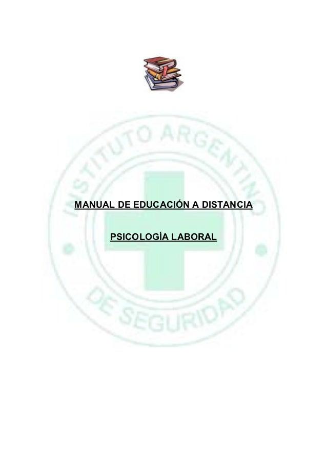 MANUAL DE EDUCACIÓN A DISTANCIA      PSICOLOGÍA LABORAL