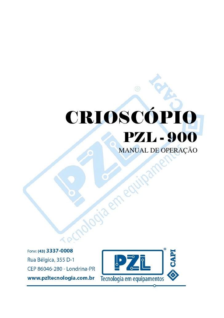CRIOSCÓPIO     PZL - 900    MANUAL DE OPERAÇÃO