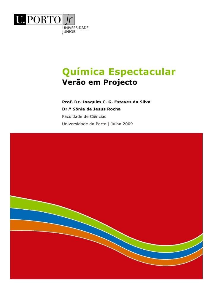 Química Espectacular Verão em Projecto  Prof. Dr. Joaquim C. G. Esteves da Silva Dr.ª Sónia de Jesus Rocha Faculdade de Ci...