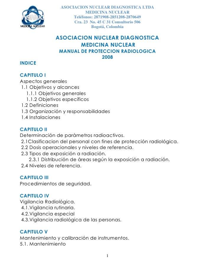 ASOCIACION NUCLEAR DIAGNOSTICA LTDA                             MEDICINA NUCLEAR                       Teléfonos: 2871908-...