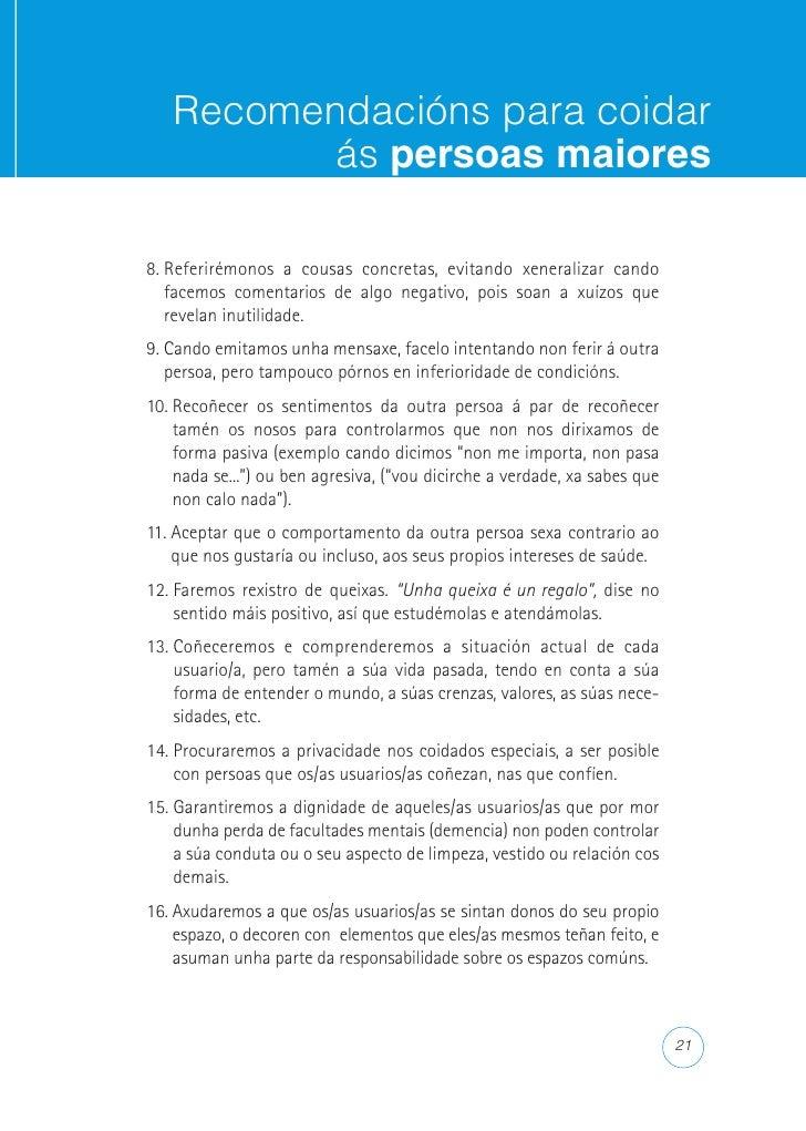 Recomendacións para coidar           ás persoas maiores  ACTITUDES PROFESIONAIS AXEITADAS DE COMUNICACIÓN COAS FA- MILIAS ...