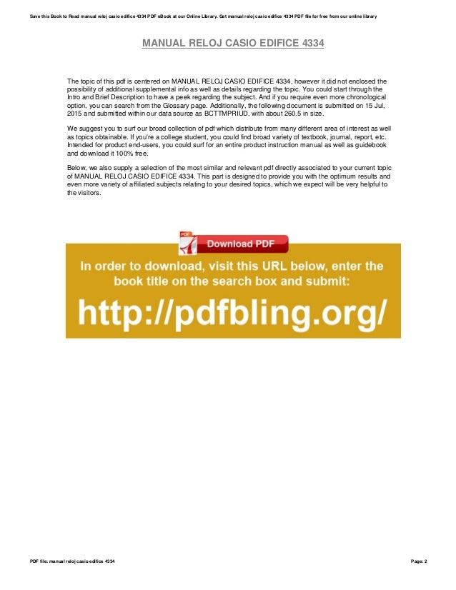manual reloj casio edifice 4334 rh slideshare net Reloj Puma Reloj Fossil