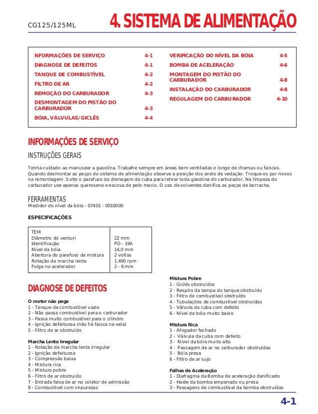4. SISTEMA DE ALIMENTAÇÃO NFORMAÇÕES DE SERVIÇO 4-1 DIAGNOSE DE DEFEITOS 4-1 TANQUE DE COMBUSTÍVEL 4-2 FILTRO DE AR 4-2 RE...
