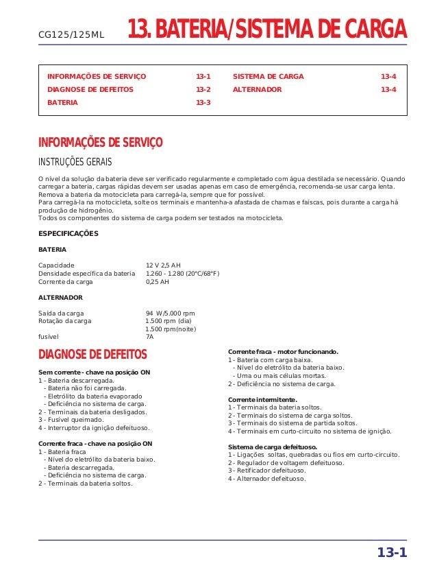 13. BATERIA/SISTEMA DE CARGA INFORMAÇÕES DE SERVIÇO 13-1 DIAGNOSE DE DEFEITOS 13-2 BATERIA 13-3 SISTEMA DE CARGA 13-4 ALTE...