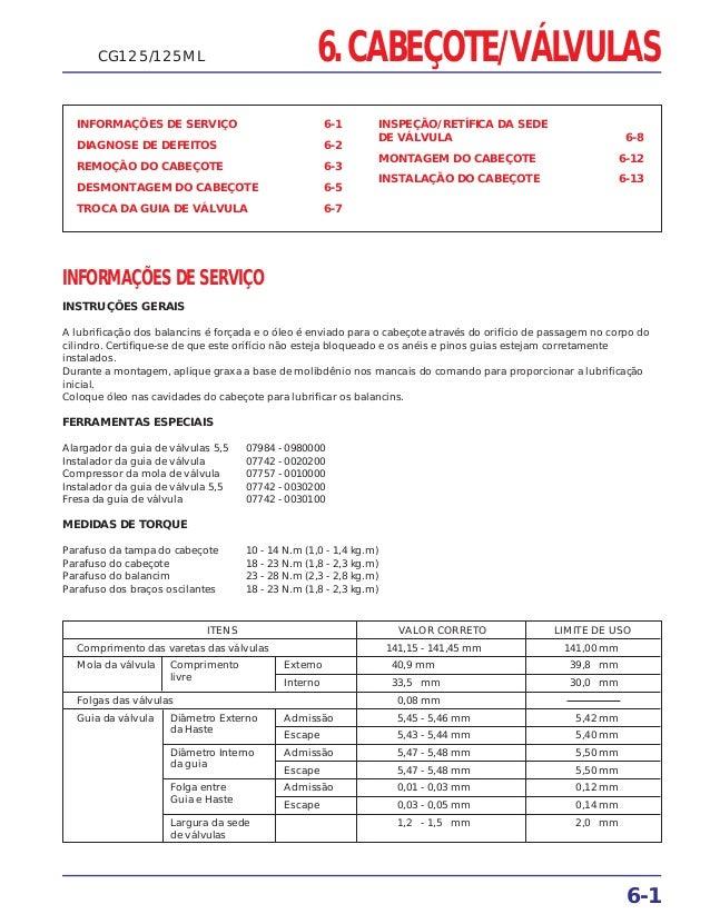 6. CABEÇOTE/VÁLVULAS INFORMAÇÕES DE SERVIÇO 6-1 DIAGNOSE DE DEFEITOS 6-2 REMOÇÃO DO CABEÇOTE 6-3 DESMONTAGEM DO CABEÇOTE 6...