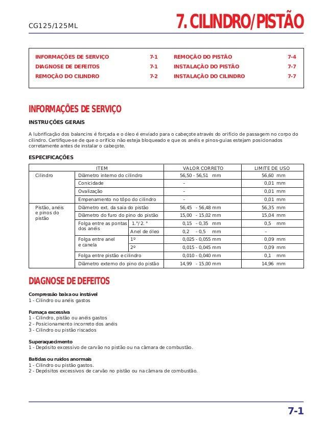 7. CILINDRO/PISTÃO INFORMAÇÕES DE SERVIÇO 7-1 DIAGNOSE DE DEFEITOS 7-1 REMOÇÃO DO CILINDRO 7-2 REMOÇÃO DO PISTÃO 7-4 INSTA...