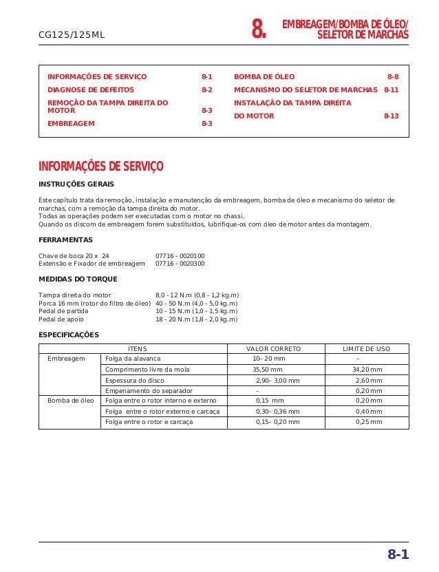 INFORMAÇÕES DE SERVIÇO 8-1 DIAGNOSE DE DEFEITOS 8-2 REMOÇÃO DA TAMPA DIREITA DO MOTOR 8-3 EMBREAGEM 8-3 BOMBA DE ÓLEO 8-8 ...