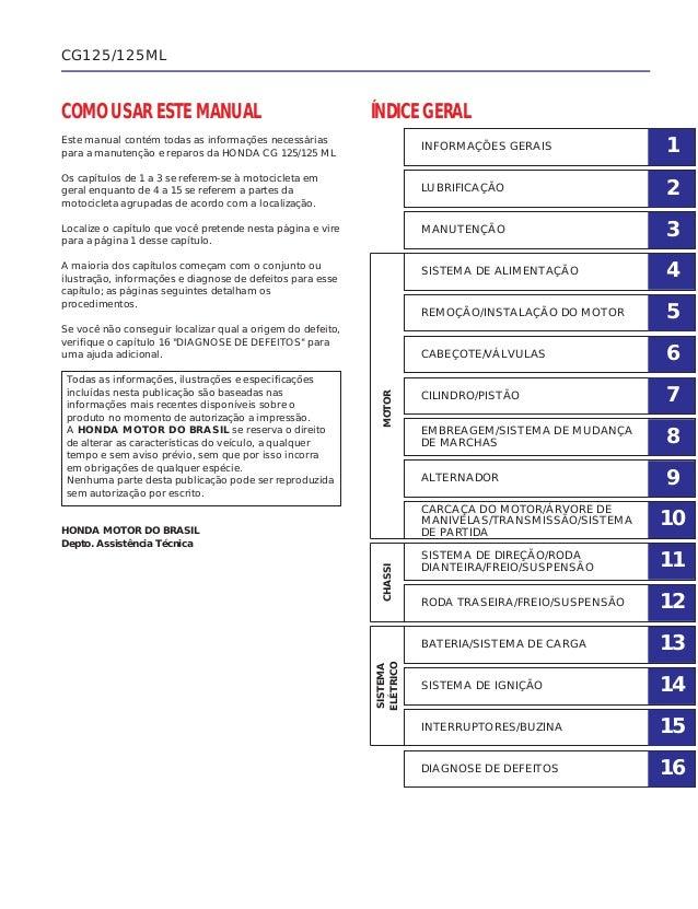 COMO USAR ESTE MANUAL Este manual contém todas as informações necessárias para a manutenção e reparos da HONDA CG 125/125 ...