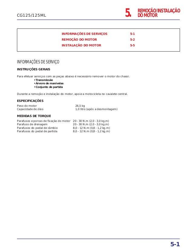 5. REMOÇÃO/INSTALAÇÃO DO MOTOR INFORMAÇÕES DE SERVIÇOS 5-1 REMOÇÃO DO MOTOR 5-2 INSTALAÇÃO DO MOTOR 5-5 INFORMAÇÕES DE SER...