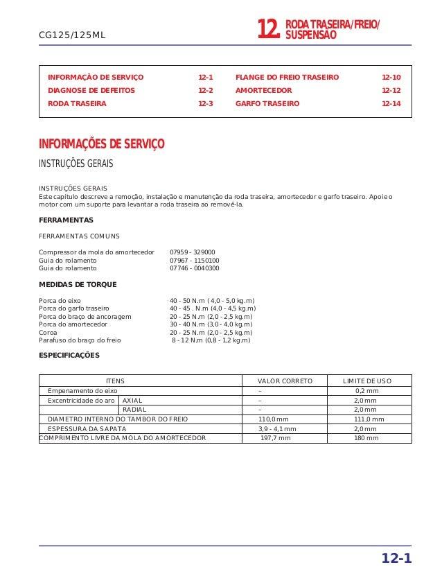 12. RODA TRASEIRA/FREIO/ SUSPENSÃO INFORMAÇÃO DE SERVIÇO 12-1 DIAGNOSE DE DEFEITOS 12-2 RODA TRASEIRA 12-3 FLANGE DO FREIO...