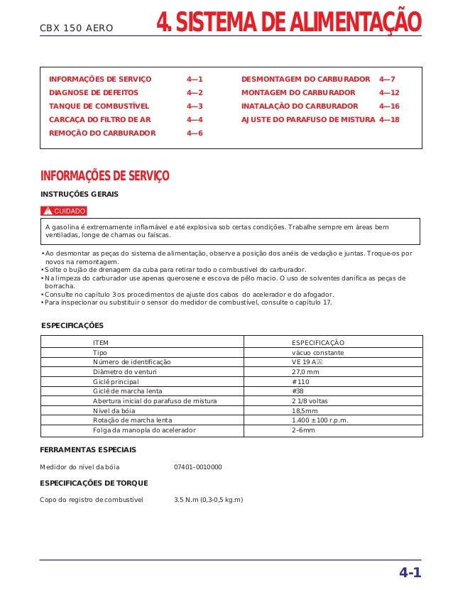 CBX 150 AERO INFORMAÇÕES DE SERVIÇO 4—1 DIAGNOSE DE DEFEITOS 4—2 TANQUE DE COMBUSTÍVEL 4—3 CARCAÇA DO FILTRO DE AR 4—4 REM...