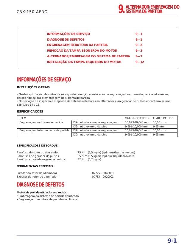CBX 150 AERO INFORMAÇÕES DE SERVIÇO 9—1 DIAGNOSE DE DEFEITOS 9—1 ENGRENAGEM REDUTORA DA PARTIDA 9—2 REMOÇÃO DA TAMPA ESQUE...