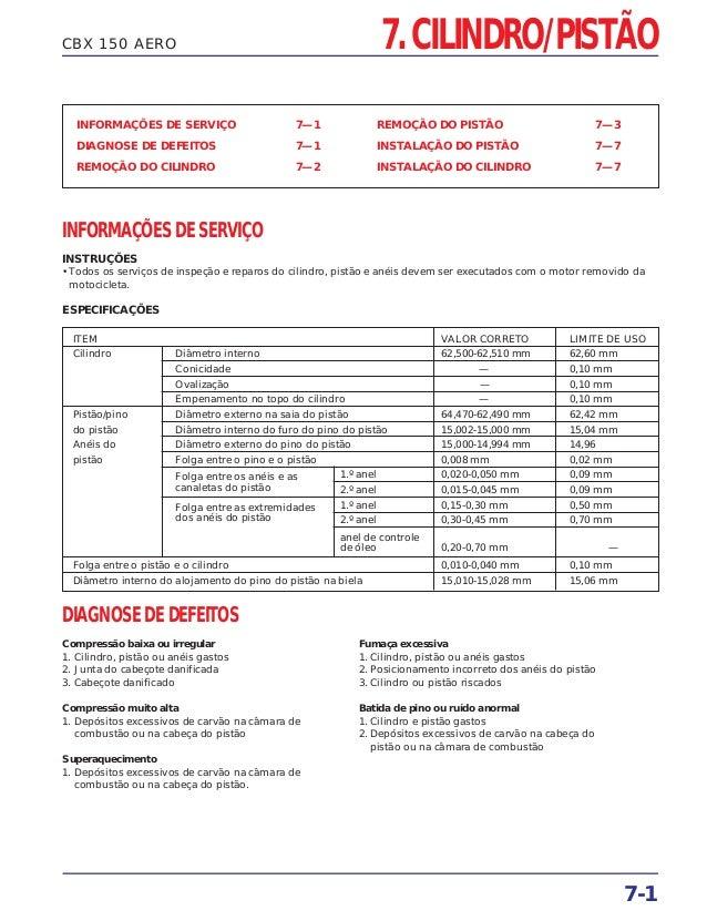 CBX 150 AERO INFORMAÇÕES DE SERVIÇO 7—1 DIAGNOSE DE DEFEITOS 7—1 REMOÇÃO DO CILINDRO 7—2 REMOÇÃO DO PISTÃO 7—3 INSTALAÇÃO ...