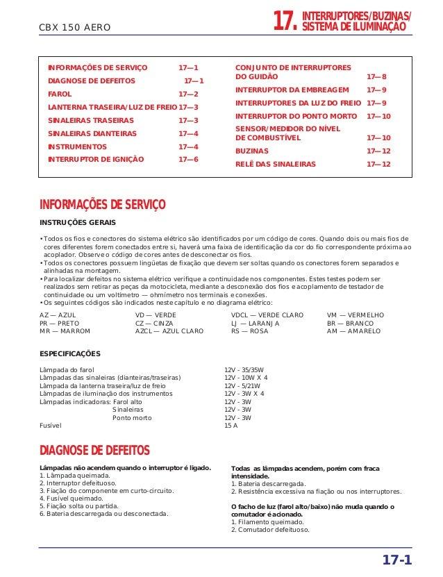 CBX 150 AERO INFORMAÇÕES DE SERVIÇO 17—1 DIAGNOSE DE DEFEITOS 17—1 FAROL 17—2 LANTERNA TRASEIRA/LUZ DE FREIO 17—3 SINALEIR...
