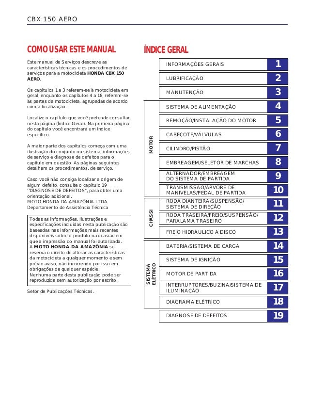 DIAGNOSE DE DEFEITOS COMO USAR ESTE MANUAL Este manual de Serviços descreve as características técnicas e os procedimentos...
