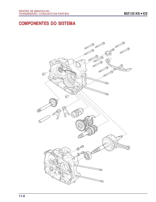 Manual serviço biz125 ks es 00 x6b-kss-001 arvore-manivelas