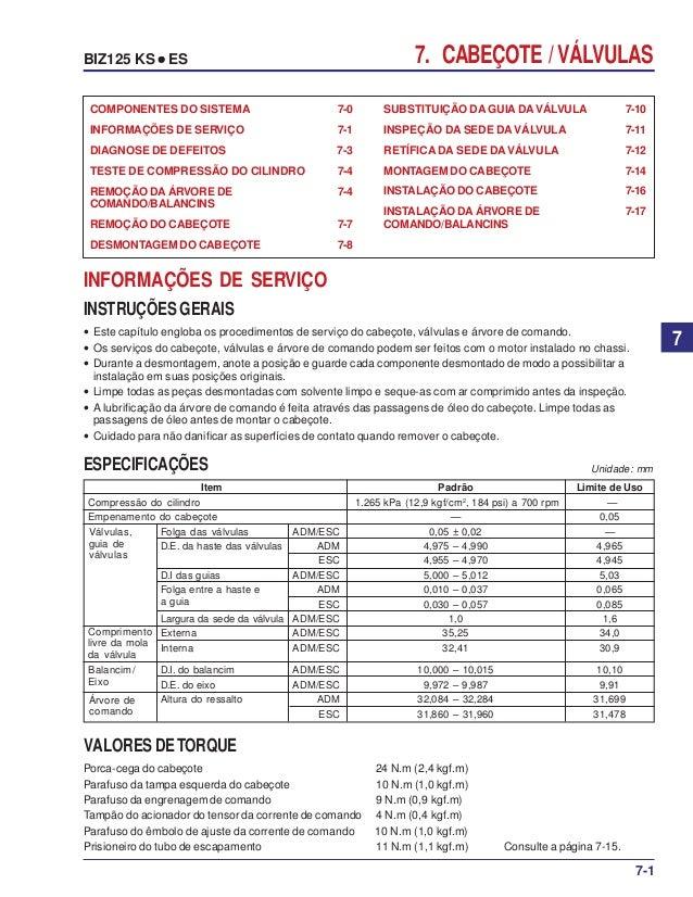 7. CABEÇOTE / VÁLVULASBIZ125 KS ••••• ES SUBSTITUIÇÃO DA GUIA DAVÁLVULA 7-10 INSPEÇÃO DA SEDE DAVÁLVULA 7-11 RETÍFICA DA S...