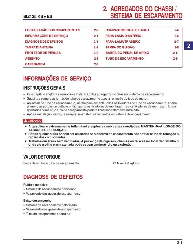2. AGREGADOS DO CHASSI / SISTEMA DE ESCAPAMENTO LOCALIZAÇÃO DOS COMPONENTES 2-0 INFORMAÇÕES DE SERVIÇO 2-1 DIAGNOSE DE DEF...