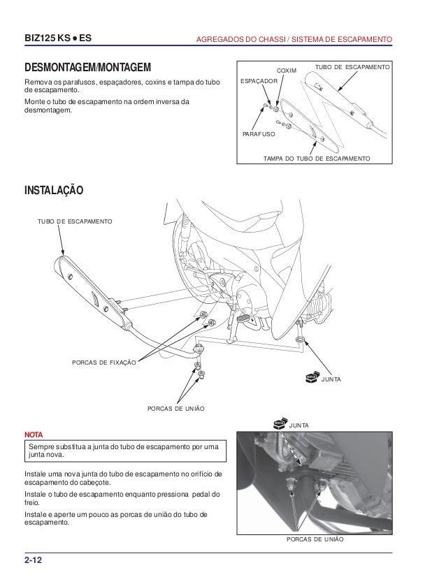 Manual serviço biz125 ks es 00 x6b-kss-001 chassi