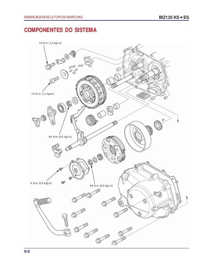 Manual serviço biz125 ks es 00 x6b-kss-001 embreagem