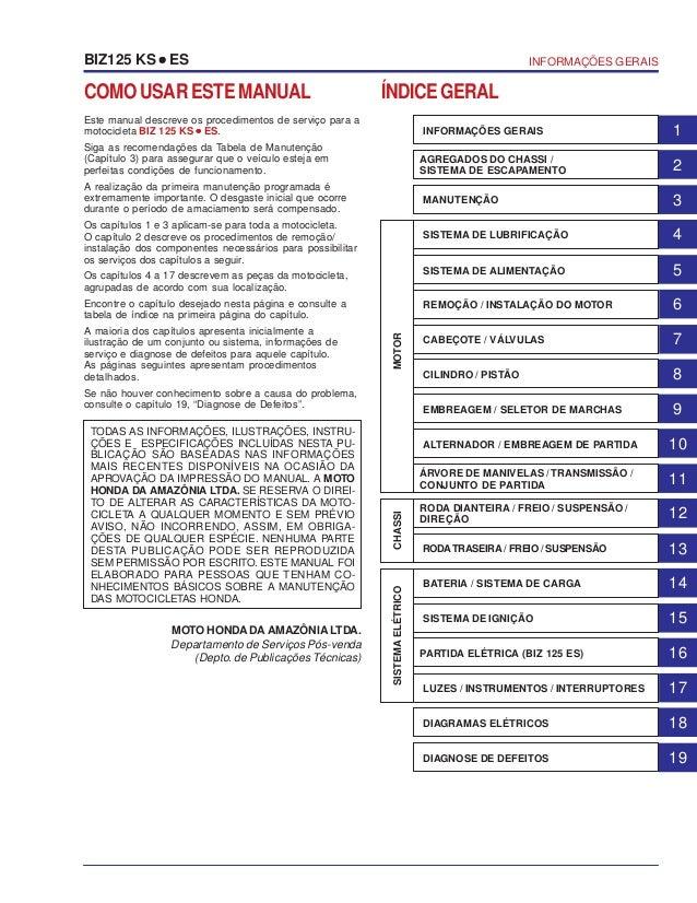 COMOUSARESTEMANUAL Este manual descreve os procedimentos de serviço para a motocicleta BIZ 125 KS ••••• ES. Siga as recome...