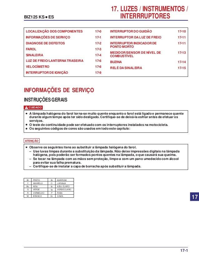 17. LUZES / INSTRUMENTOS / INTERRRUPTORESBIZ125 KS ••••• ES INTERRUPTOR DO GUIDÃO 17-10 INTERRUPTOR DA LUZ DE FREIO 17-11 ...