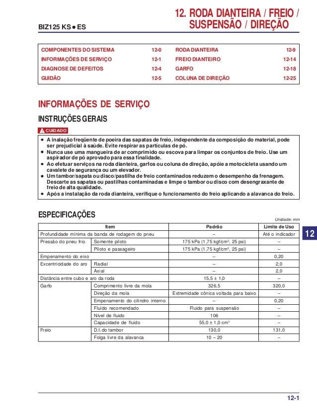 12. RODA DIANTEIRA / FREIO / SUSPENSÃO / DIREÇÃOBIZ125 KS ••••• ES RODA DIANTEIRA 12-9 FREIO DIANTEIRO 12-14 GARFO 12-18 C...