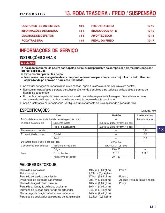 13. RODA TRASEIRA / FREIO / SUSPENSÃOBIZ125 KS ••••• ES FREIOTRASEIRO 13-10 BRAÇO OSCILANTE 13-12 AMORTECEDOR 13-16 PEDAL ...