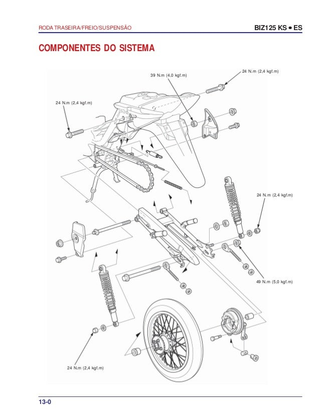 Manual serviço biz125 ks es 00 x6b-kss-001 roda-traseira