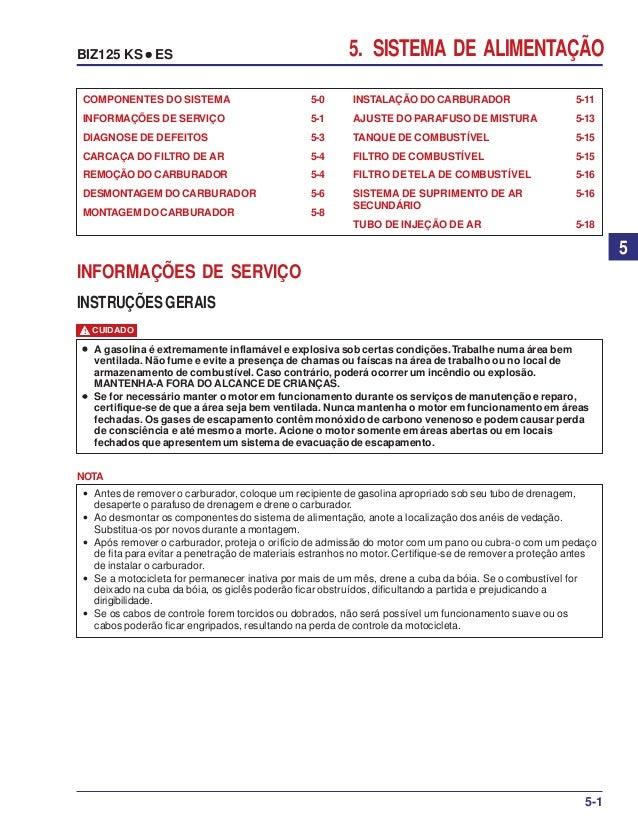 5. SISTEMA DE ALIMENTAÇÃOBIZ125 KS ••••• ES 5-1 5 INSTALAÇÃO DO CARBURADOR 5-11 AJUSTE DO PARAFUSO DE MISTURA 5-13 TANQUE ...