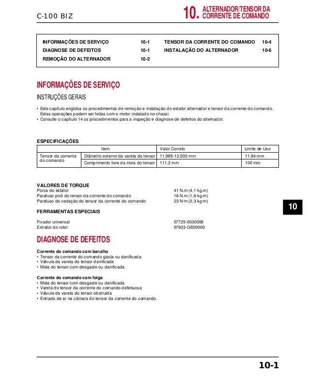 C-100 BIZ INFORMAÇÕES DE SERVIÇO 10-1 DIAGNOSE DE DEFEITOS 10-1 REMOÇÃO DO ALTERNADOR 10-2 TENSOR DA CORRENTE DO COMANDO 1...